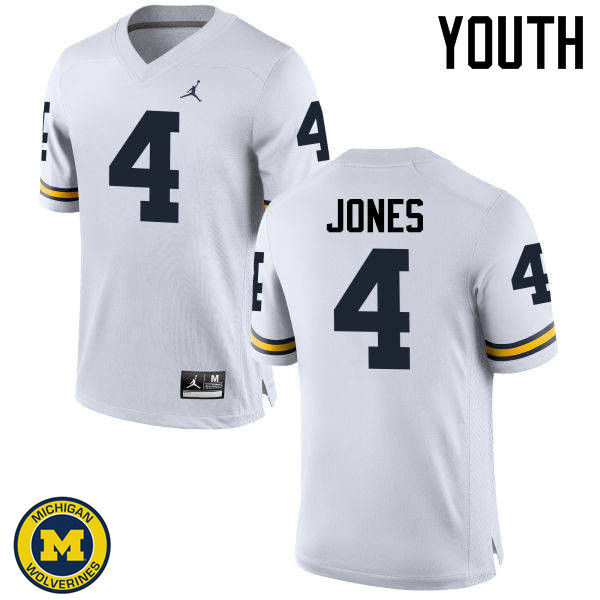 Youth Michigan Wolverines #4 Reuben Jones College Football Jerseys Sale-White