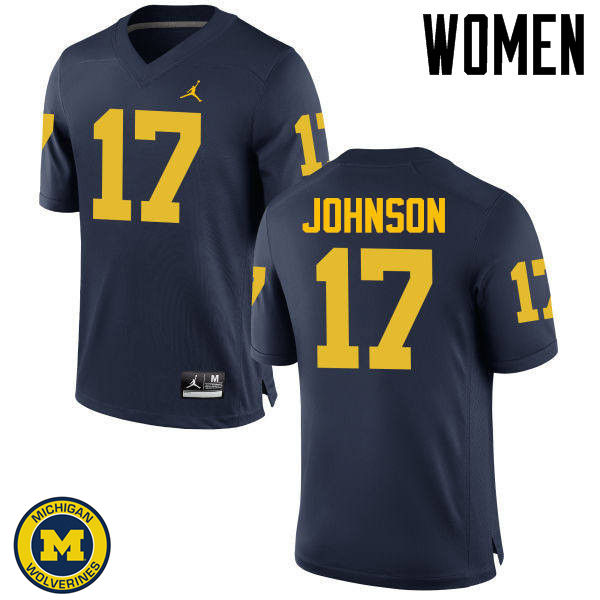 Women Michigan Wolverines #17 Ron Johnson College Football Jerseys Sale-Navy