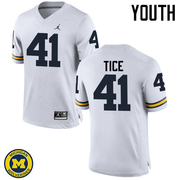Youth Michigan Wolverines #41 Ryan Tice College Football Jerseys Sale-White