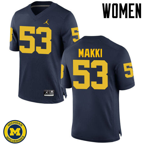 Women Michigan Wolverines #53 Salim Makki College Football Jerseys Sale-Navy