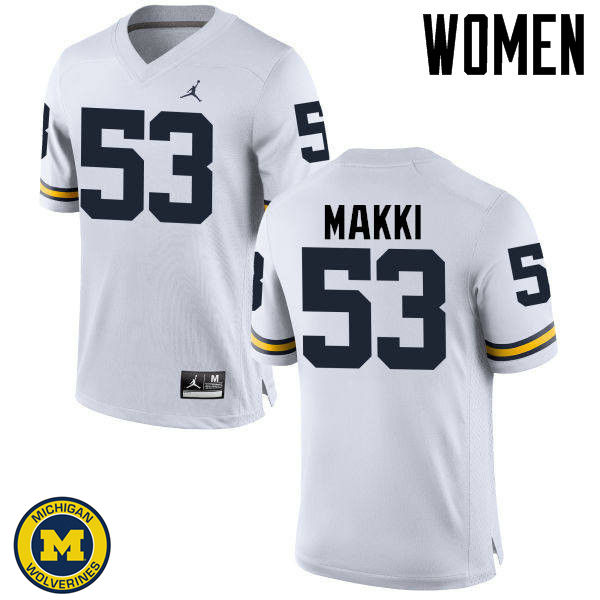 Women Michigan Wolverines #53 Salim Makki College Football Jerseys Sale-White