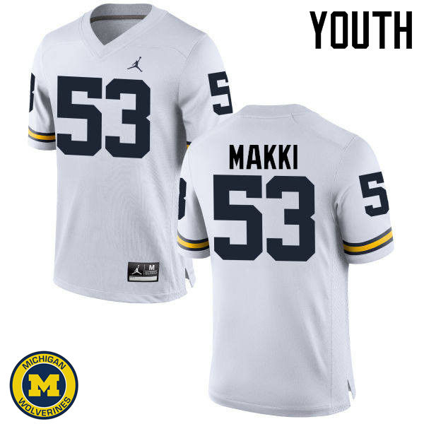 Youth Michigan Wolverines #53 Salim Makki College Football Jerseys Sale-White