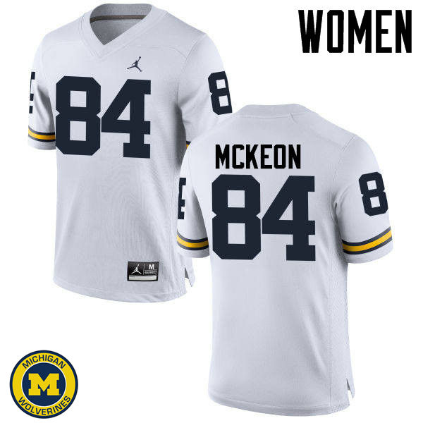 Women Michigan Wolverines #84 Sean McKeon College Football Jerseys Sale-White