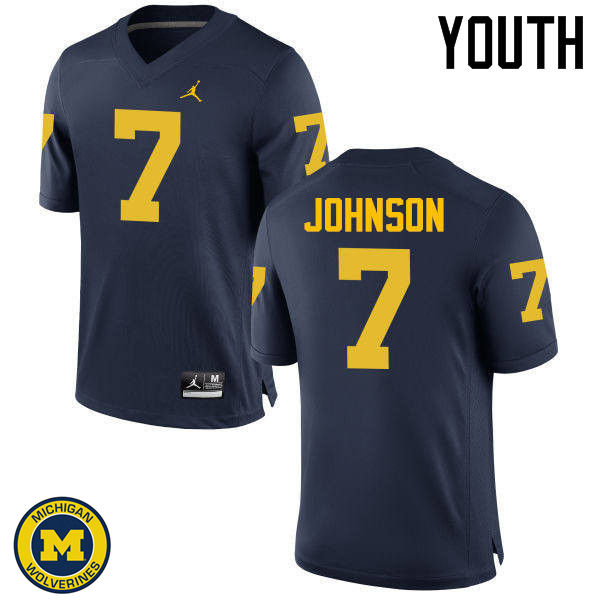 Youth Michigan Wolverines #7 Shelton Johnson College Football Jerseys Sale-Navy