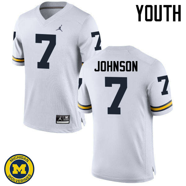 Youth Michigan Wolverines #7 Shelton Johnson College Football Jerseys Sale-White