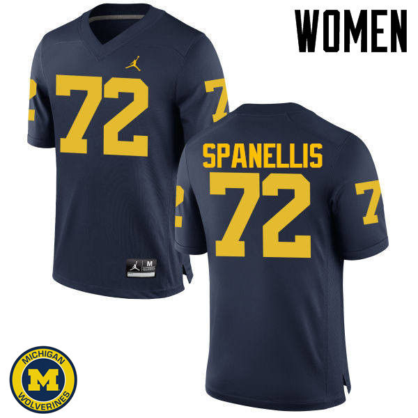 Women Michigan Wolverines #72 Stephen Spanellis College Football Jerseys Sale-Navy