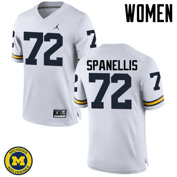Women Michigan Wolverines #72 Stephen Spanellis College Football Jerseys Sale-White