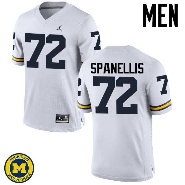 Men Michigan Wolverines #72 Stephen Spanellis College Football Jerseys Sale-White