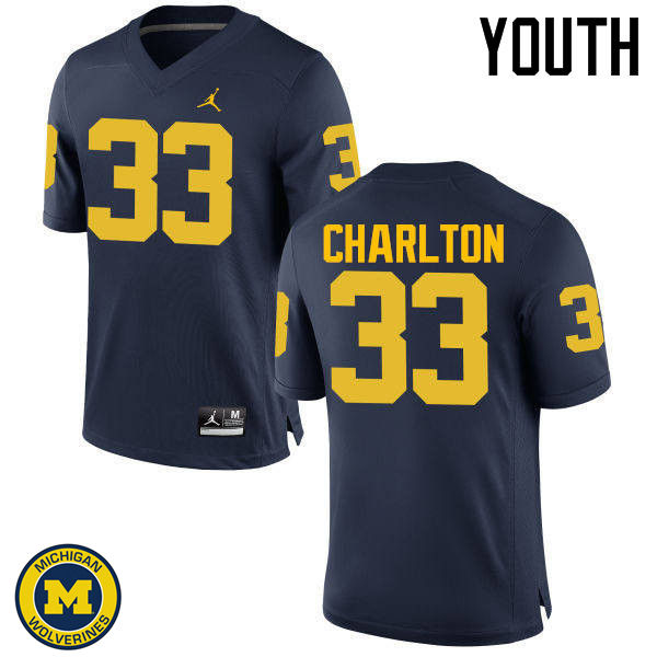 Youth Michigan Wolverines #33 Taco Charlton College Football Jerseys Sale-Navy