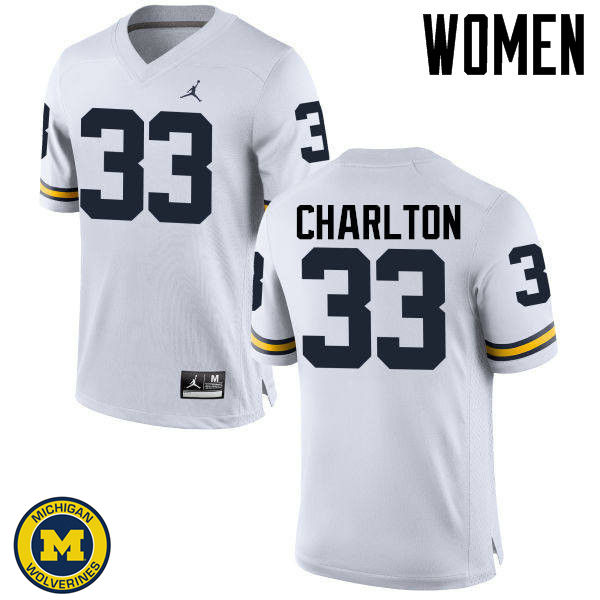 Women Michigan Wolverines #33 Taco Charlton College Football Jerseys Sale-White