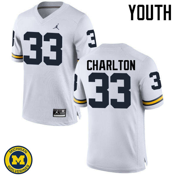 Youth Michigan Wolverines #33 Taco Charlton College Football Jerseys Sale-White