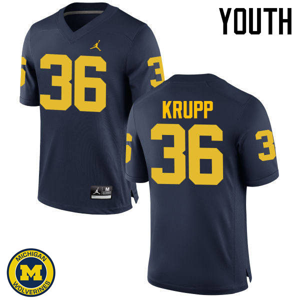 Youth Michigan Wolverines #36 Taylor Krupp College Football Jerseys Sale-Navy