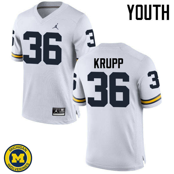 Youth Michigan Wolverines #36 Taylor Krupp College Football Jerseys Sale-White
