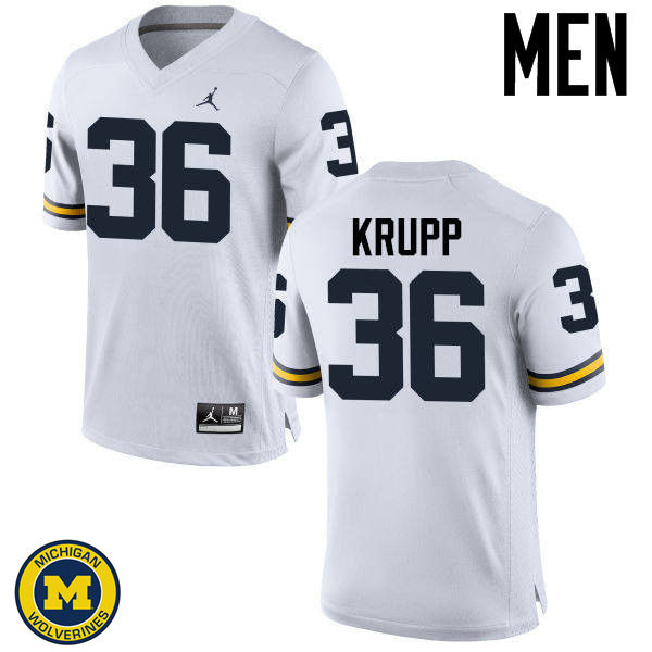 Men Michigan Wolverines #36 Taylor Krupp College Football Jerseys Sale-White