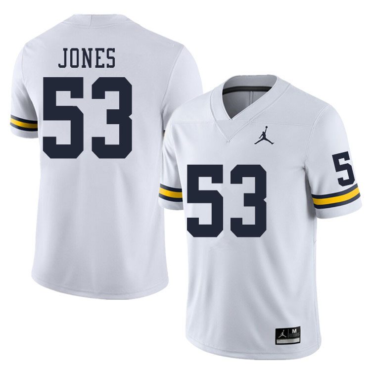 Men #53 Trente Jones Michigan Wolverines College Football Jerseys Sale-White