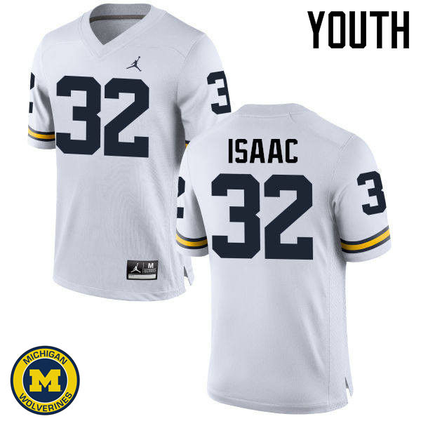 Youth Michigan Wolverines #32 Ty Isaac College Football Jerseys Sale-White