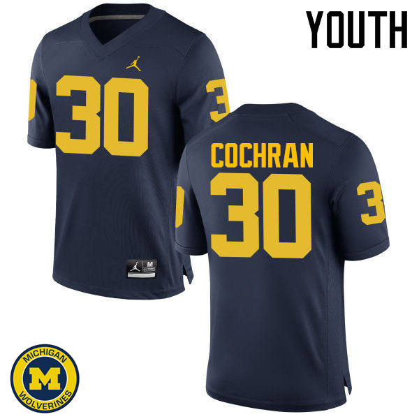 Youth Michigan Wolverines #30 Tyler Cochran College Football Jerseys Sale-Navy