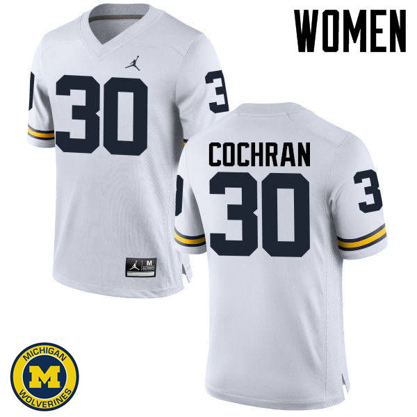Women Michigan Wolverines #30 Tyler Cochran College Football Jerseys Sale-White