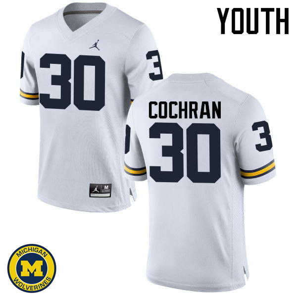 Youth Michigan Wolverines #30 Tyler Cochran College Football Jerseys Sale-White