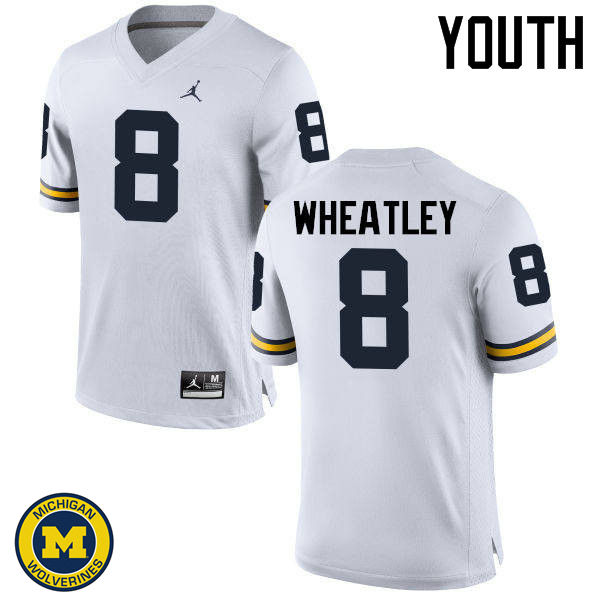 Youth Michigan Wolverines #8 Tyrone Wheatley College Football Jerseys Sale-White