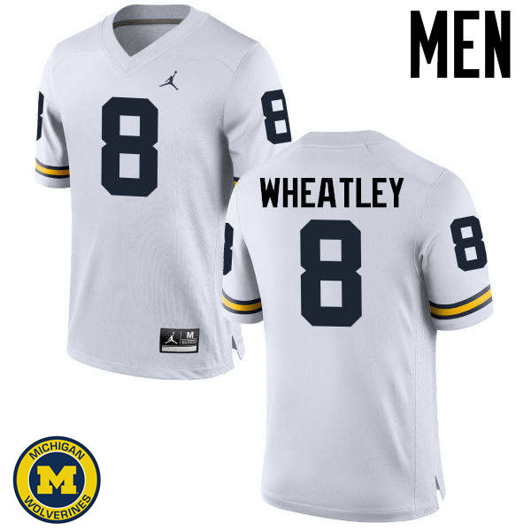 Men Michigan Wolverines #8 Tyrone Wheatley College Football Jerseys Sale-White