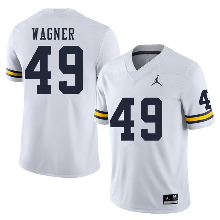 Men #49 William Wagner Michigan Wolverines College Football Jerseys Sale-White