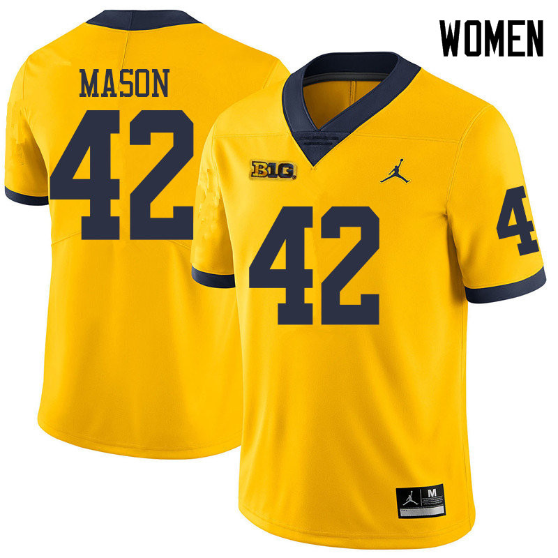 Jordan Brand Women #42 Ben Mason Michigan Wolverines College Football Jerseys Sale-Yellow