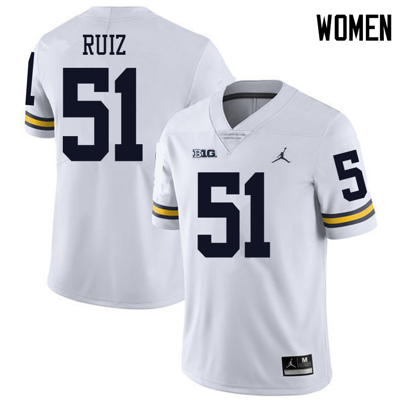 Jordan Brand Women #51 Cesar Ruiz Michigan Wolverines College Football Jerseys Sale-White