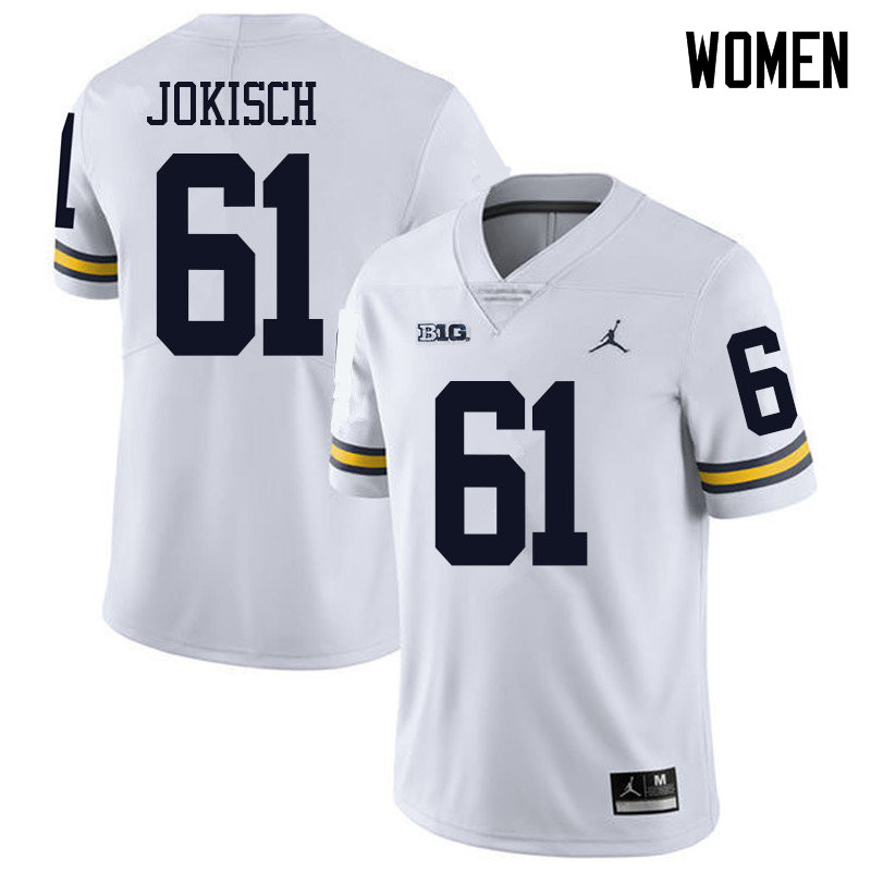 Jordan Brand Women #61 Dan Jokisch Michigan Wolverines College Football Jerseys Sale-White
