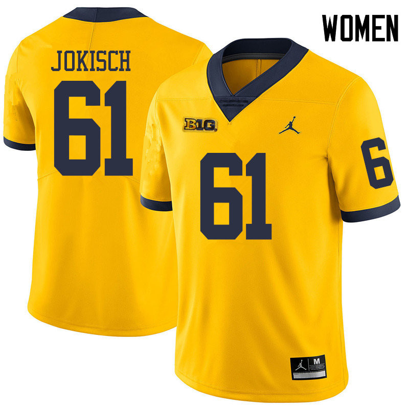 Jordan Brand Women #61 Dan Jokisch Michigan Wolverines College Football Jerseys Sale-Yellow