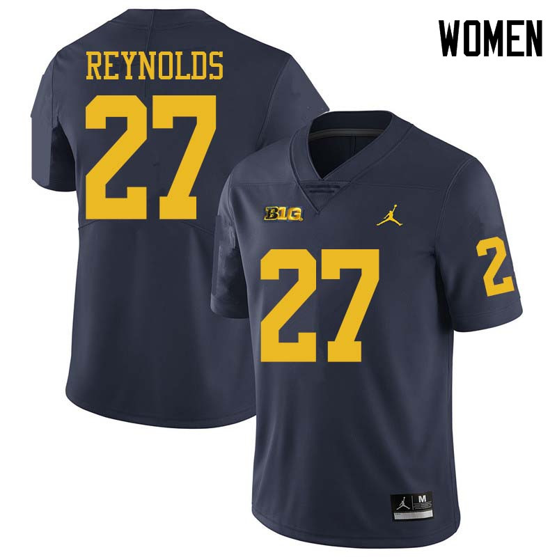 Jordan Brand Women #27 Hunter Reynolds Michigan Wolverines College Football Jerseys Sale-Navy