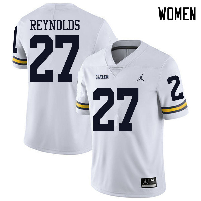 Jordan Brand Women #27 Hunter Reynolds Michigan Wolverines College Football Jerseys Sale-White