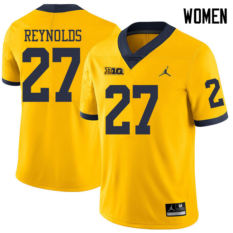 Jordan Brand Women #27 Hunter Reynolds Michigan Wolverines College Football Jerseys Sale-Yellow