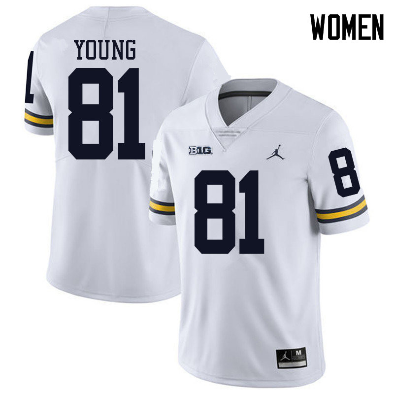 Jordan Brand Women #81 Jack Young Michigan Wolverines College Football Jerseys Sale-White
