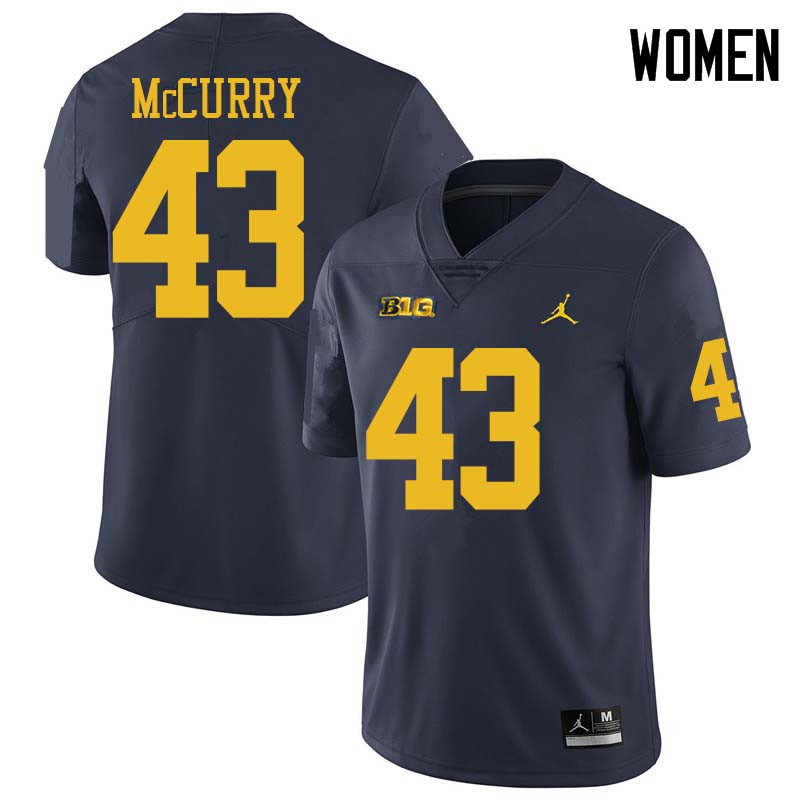 Jordan Brand Women #43 Jake McCurry Michigan Wolverines College Football Jerseys Sale-Navy
