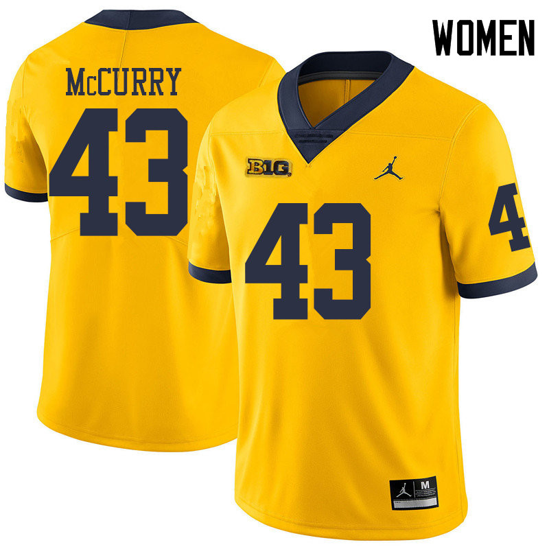 Jordan Brand Women #43 Jake McCurry Michigan Wolverines College Football Jerseys Sale-Yellow