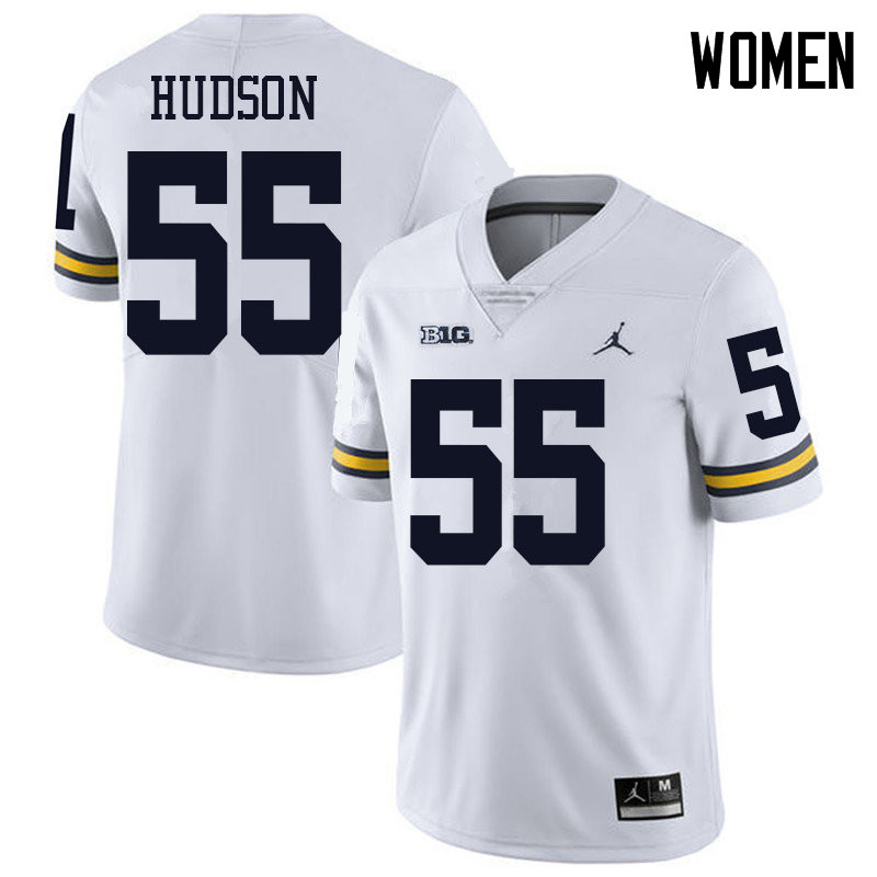 Jordan Brand Women #55 James Hudson Michigan Wolverines College Football Jerseys Sale-White