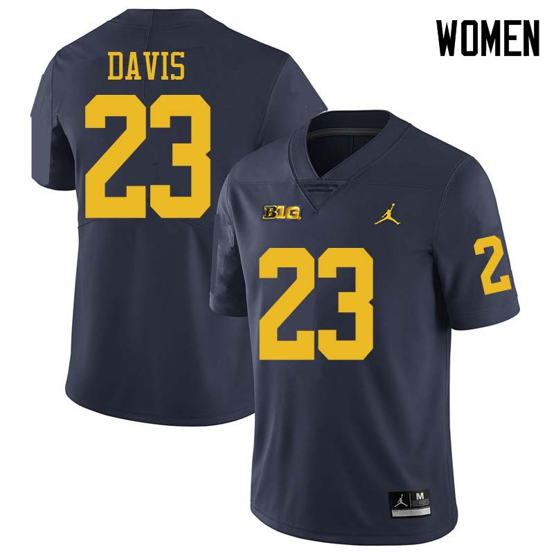 Jordan Brand Women #23 Jared Davis Michigan Wolverines College Football Jerseys Sale-Navy