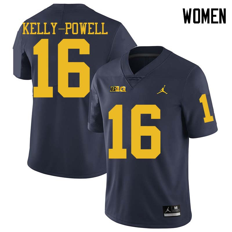 Jordan Brand Women #16 Jaylen Kelly-Powell Michigan Wolverines College Football Jerseys Sale-Navy
