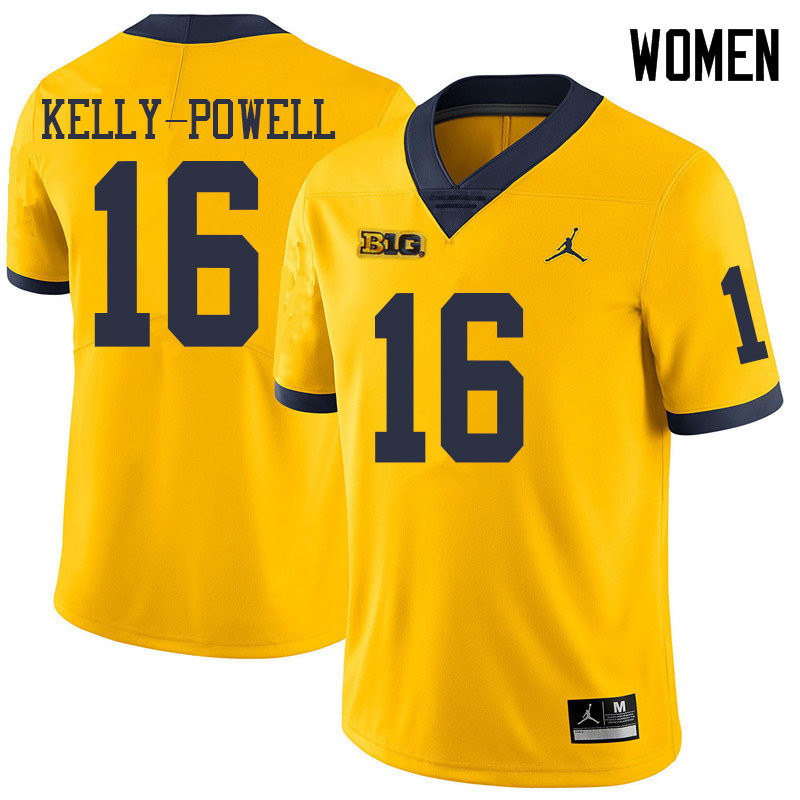 Jordan Brand Women #16 Jaylen Kelly-Powell Michigan Wolverines College Football Jerseys Sale-Yellow