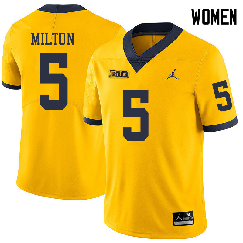 Jordan Brand Women #5 Joe Milton Michigan Wolverines College Football Jerseys Sale-Yellow