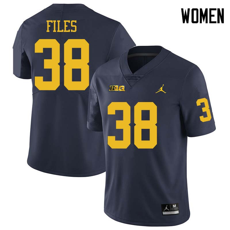 Jordan Brand Women #38 Joseph Files Michigan Wolverines College Football Jerseys Sale-Navy