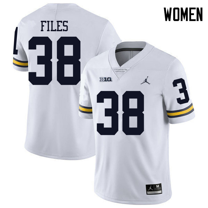 Jordan Brand Women #38 Joseph Files Michigan Wolverines College Football Jerseys Sale-White