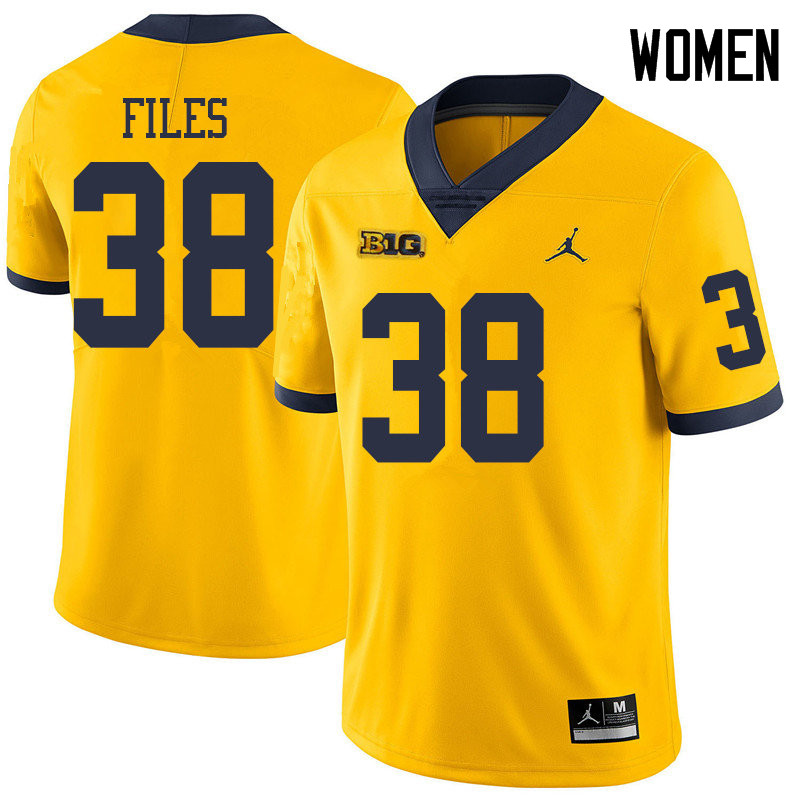 Jordan Brand Women #38 Joseph Files Michigan Wolverines College Football Jerseys Sale-Yellow