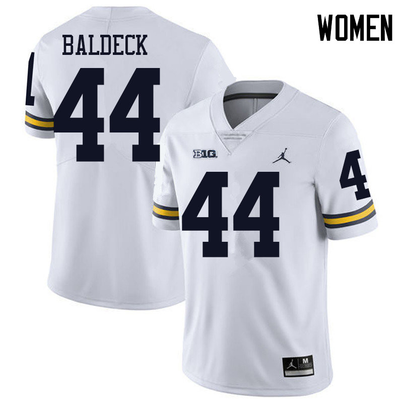 Jordan Brand Women #44 Matt Baldeck Michigan Wolverines College Football Jerseys Sale-White