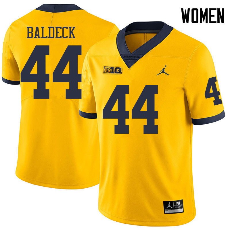 Jordan Brand Women #44 Matt Baldeck Michigan Wolverines College Football Jerseys Sale-Yellow