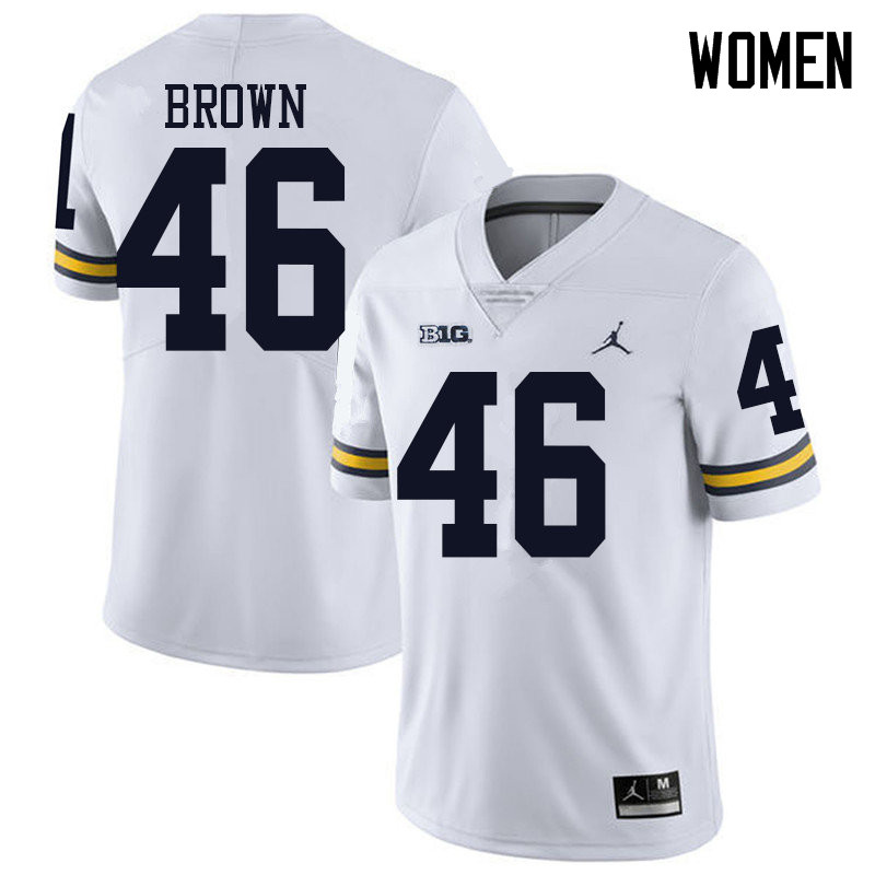 Jordan Brand Women #46 Matt Brown Michigan Wolverines College Football Jerseys Sale-White