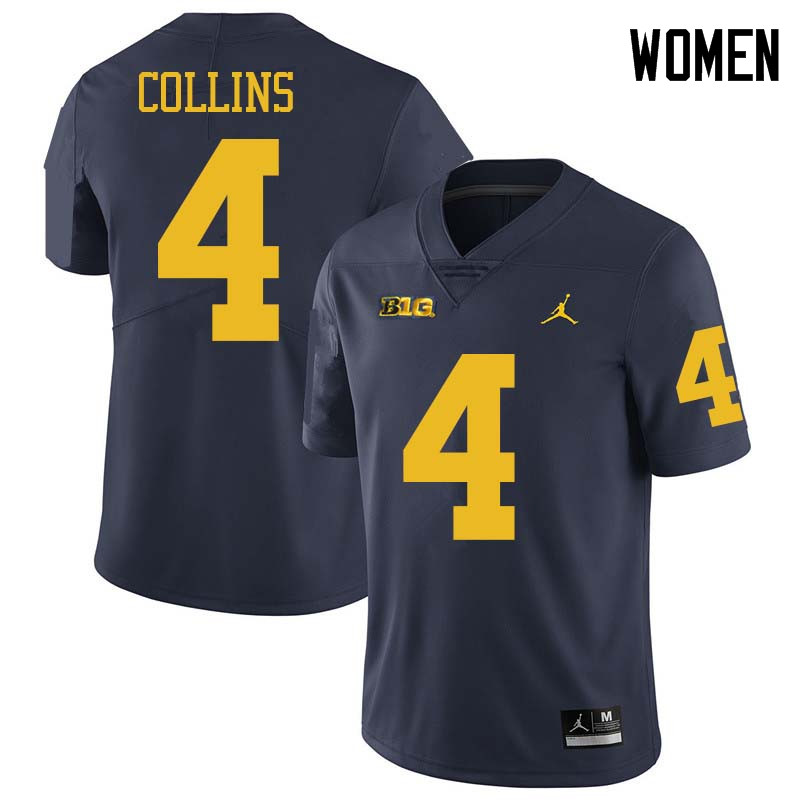 Jordan Brand Women #4 Nico Collins Michigan Wolverines College Football Jerseys Sale-Navy