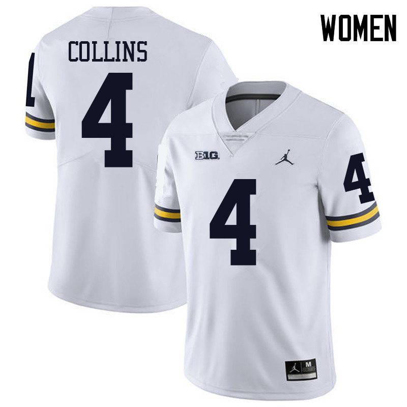 Jordan Brand Women #4 Nico Collins Michigan Wolverines College Football Jerseys Sale-White
