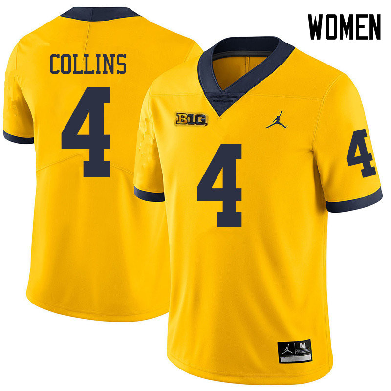 Jordan Brand Women #4 Nico Collins Michigan Wolverines College Football Jerseys Sale-Yellow